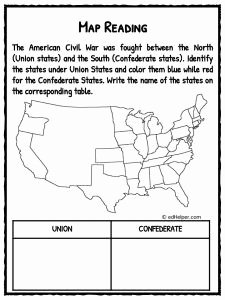Civil War Map Worksheet Luxury American Civil War Facts Information & Worksheets