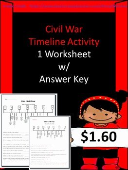 Civil War Timeline Worksheet Best Of Civil War events Timeline Activity 1 Worksheet W Answer