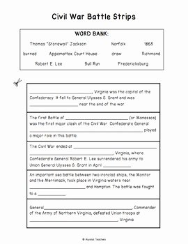 Civil War Timeline Worksheet New Virginia Civil War Battles Timeline Worksheet Vs 7b by