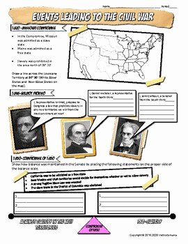 Civil War Worksheet Pdf Best Of events Leading to Civil War Graphic organizer or Worksheet