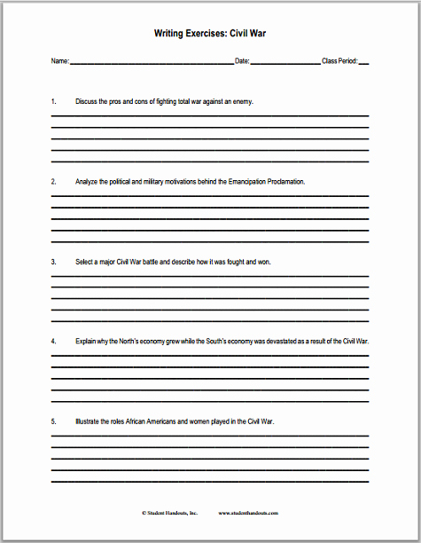 Civil War Worksheet Pdf Best Of U S Civil War Writing Exercises Free to Print Pdf File