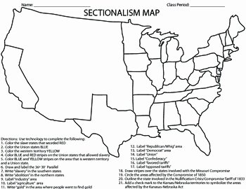 Civil War Worksheet Pdf Elegant Civil War Sectionalism Map by Coaching History