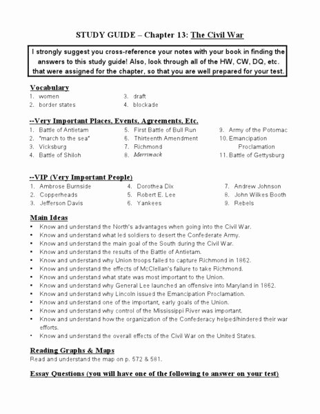 Civil War Worksheet Pdf Elegant Civil War Worksheets