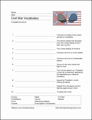 Civil War Worksheet Pdf Elegant Free Civil War Printables