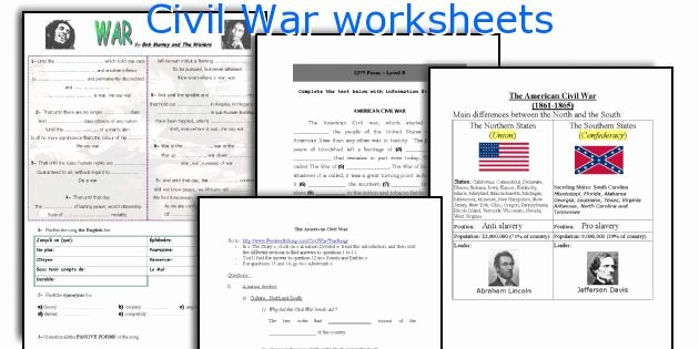 Civil War Worksheet Pdf Fresh Civil War Worksheets