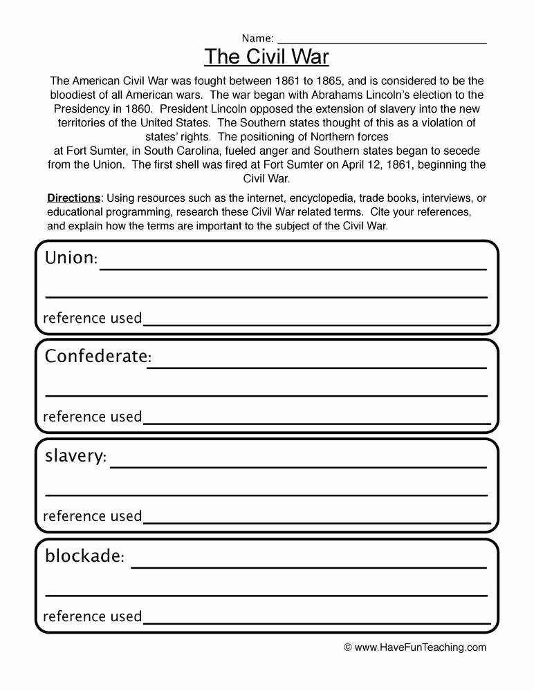 Civil War Worksheet Pdf Inspirational Civil War Worksheets