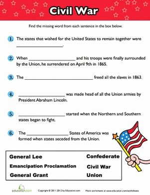 Civil War Worksheet Pdf New Civil War Fill In the Blank