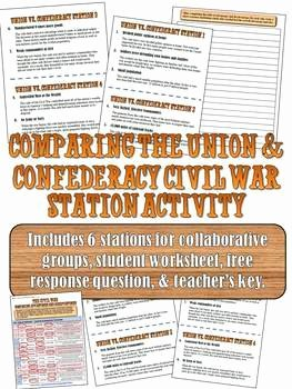 Civil War Worksheet Pdf New Civil War Stations Activity Paring the Union and