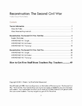 Civil War Worksheet Pdf Unique Reconstruction the Second Civil War Video Cloze