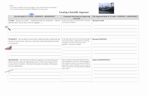 Claim Evidence Reasoning Science Worksheet Elegant Claim Evidence Reasoning Template for High School