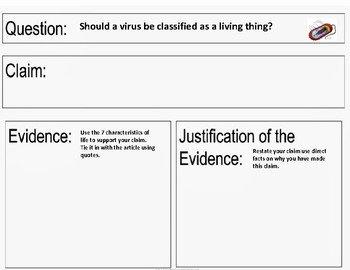 Claim Evidence Reasoning Science Worksheet Luxury Characteristics Of Life Claim Evidence Reasoning Activity
