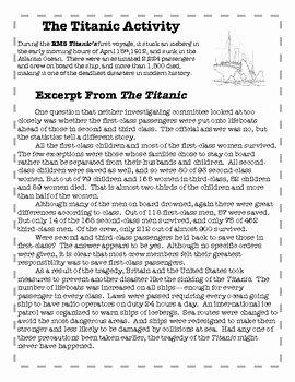 Claim Evidence Reasoning Science Worksheet Luxury the Titanic Claim Evidence Reasoning Activity by Black