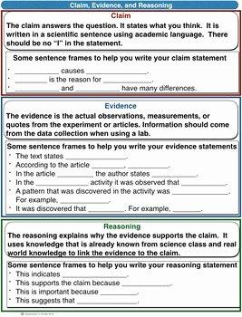 Claim Evidence Reasoning Science Worksheet New Scientific Explanation Cer Claim Evidence Reasoning