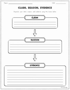 Claim Evidence Reasoning Science Worksheet Unique Claim Reason and Evidence Graphic organizer