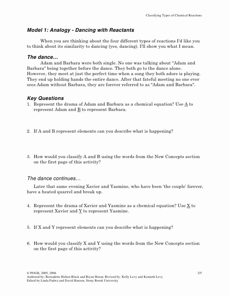 Classification Of Chemical Reactions Worksheet Awesome Classification Matter Worksheet Chemistry Answers