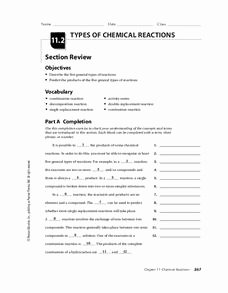 Classification Of Chemical Reactions Worksheet Awesome Types Of Chemical Reactions Worksheet for 9th 12th Grade