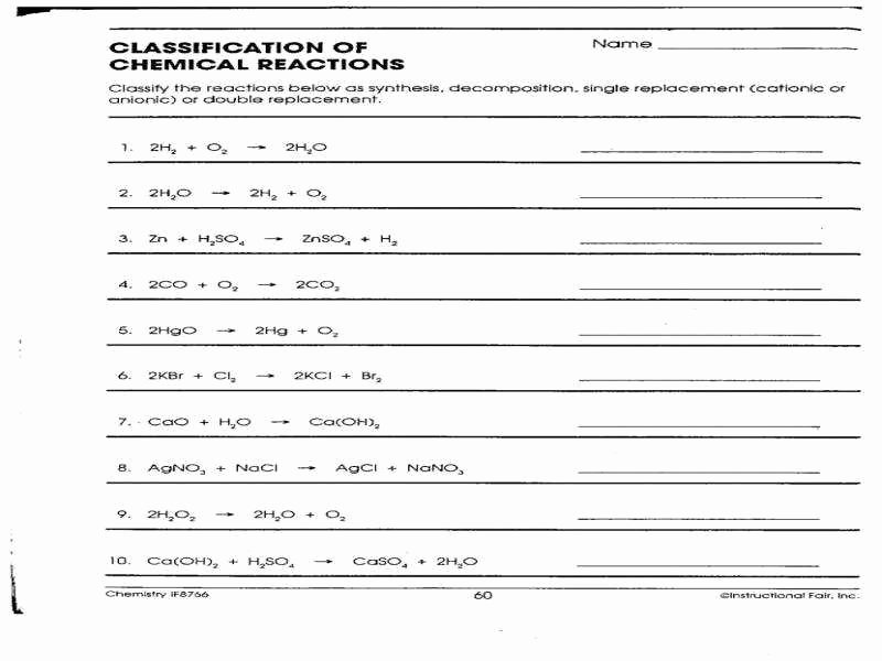 Classification Of Chemical Reactions Worksheet Luxury Types Chemical Reactions Worksheet Answers