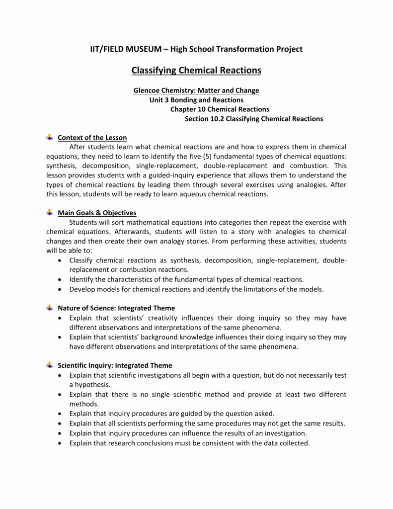 Classification Of Chemical Reactions Worksheet Unique Classifying Chemical Reactions Worksheet