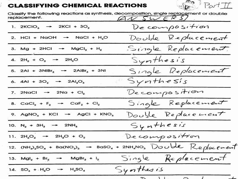 Classification Of Chemical Reactions Worksheet Unique Types Chemical Reactions Worksheet Answers