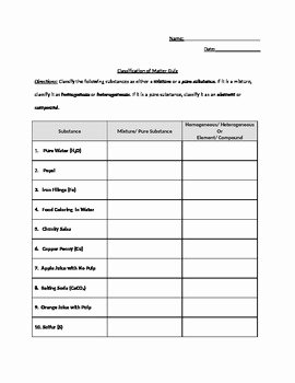 Classification Of Matter Worksheet Answers Best Of Classification Of Matter Pure Substances and Mixtures
