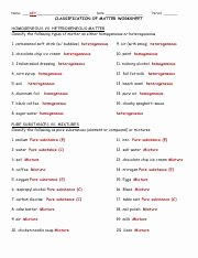 Classification Of Matter Worksheet Answers Fresh Classifying Matter Worksheet with Answers 6 Pure Air