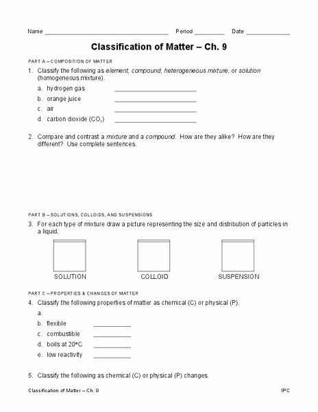 Classification Of Matter Worksheet Elegant Classification Of Matter Worksheet for 9th 12th Grade