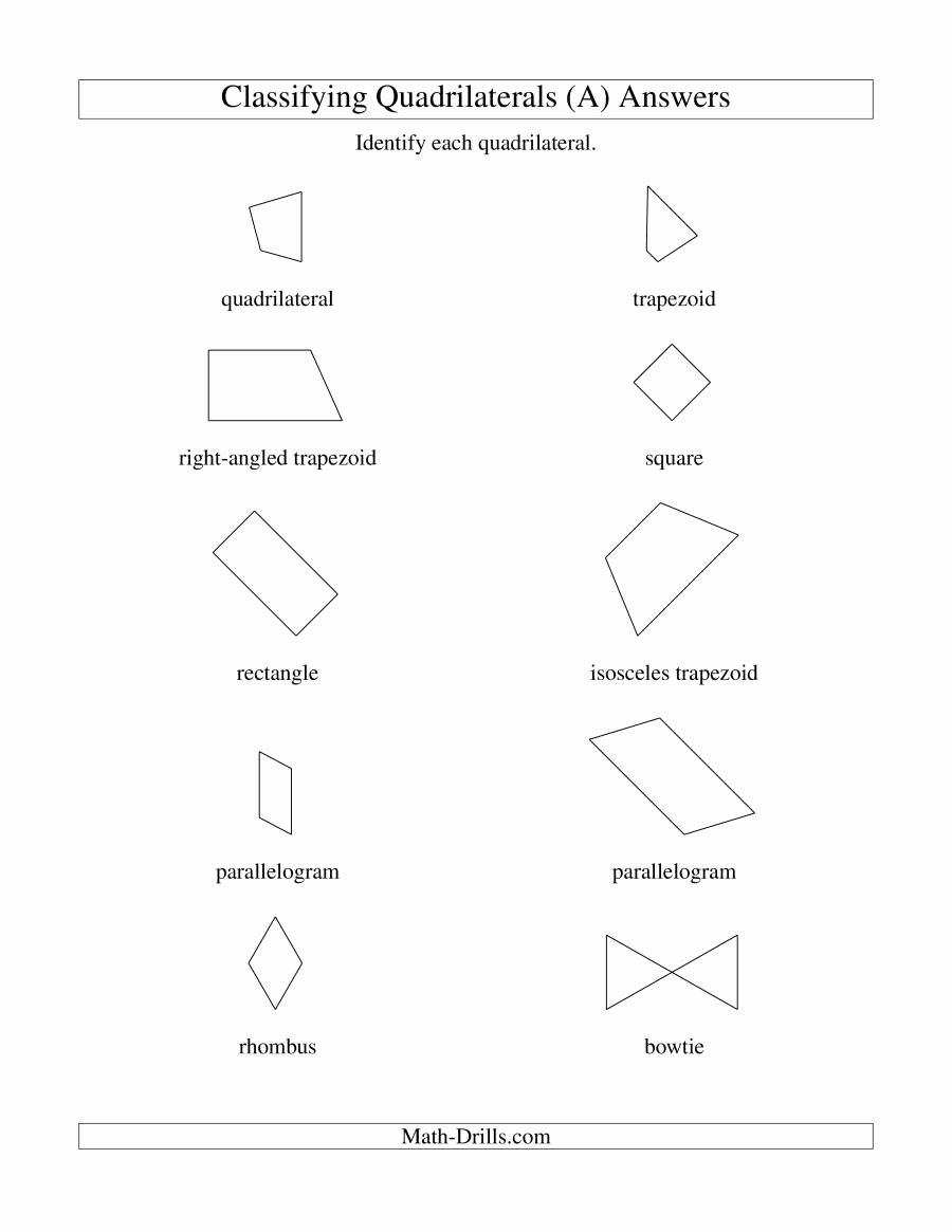 Classify Real Numbers Worksheet Inspirational Classifying Quadrilaterals A