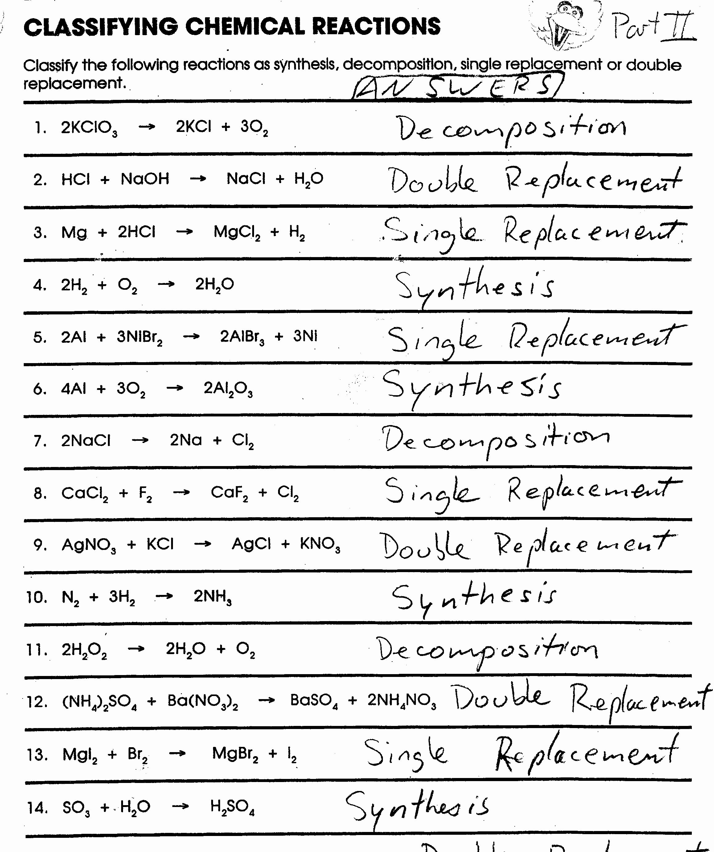 Classifying Chemical Reactions Worksheet Answers Elegant Svms