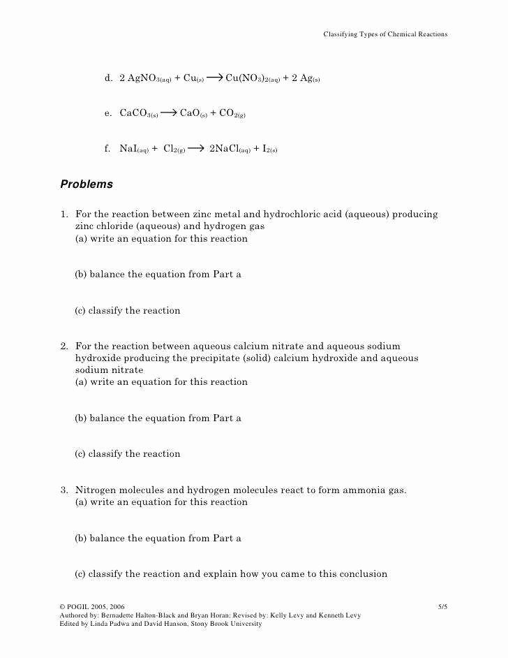 Classifying Chemical Reactions Worksheet Answers Lovely Classifying Chemical Reactions Worksheet Answers