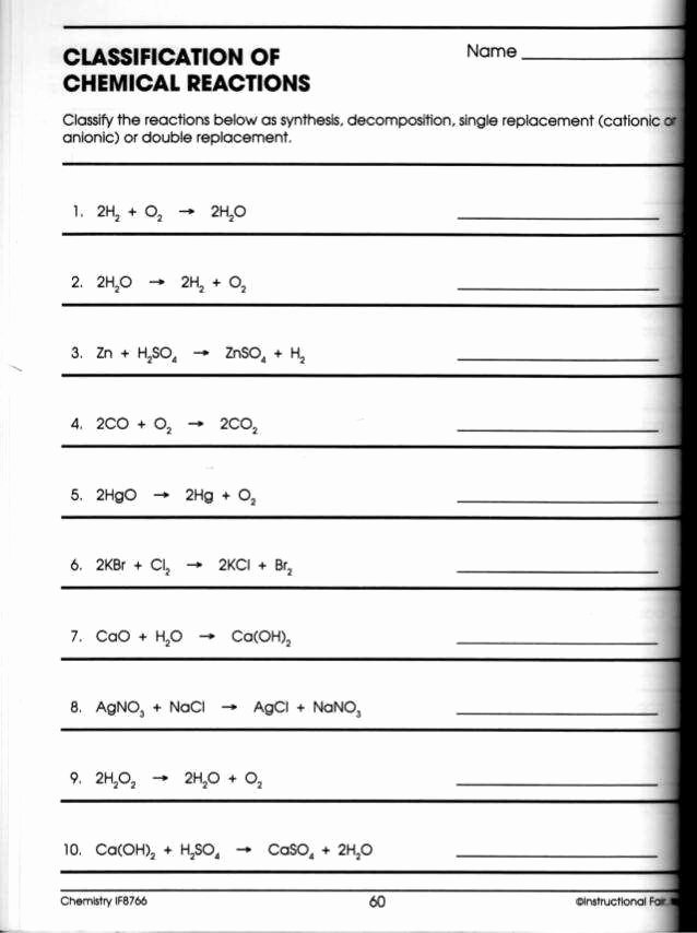 Classifying Chemical Reactions Worksheet Answers New Classifying Chemical Reactions Worksheet