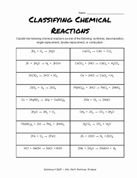 Classifying Chemical Reactions Worksheet Inspirational Classifying Chemical Reactions Practice by Mr Fry S