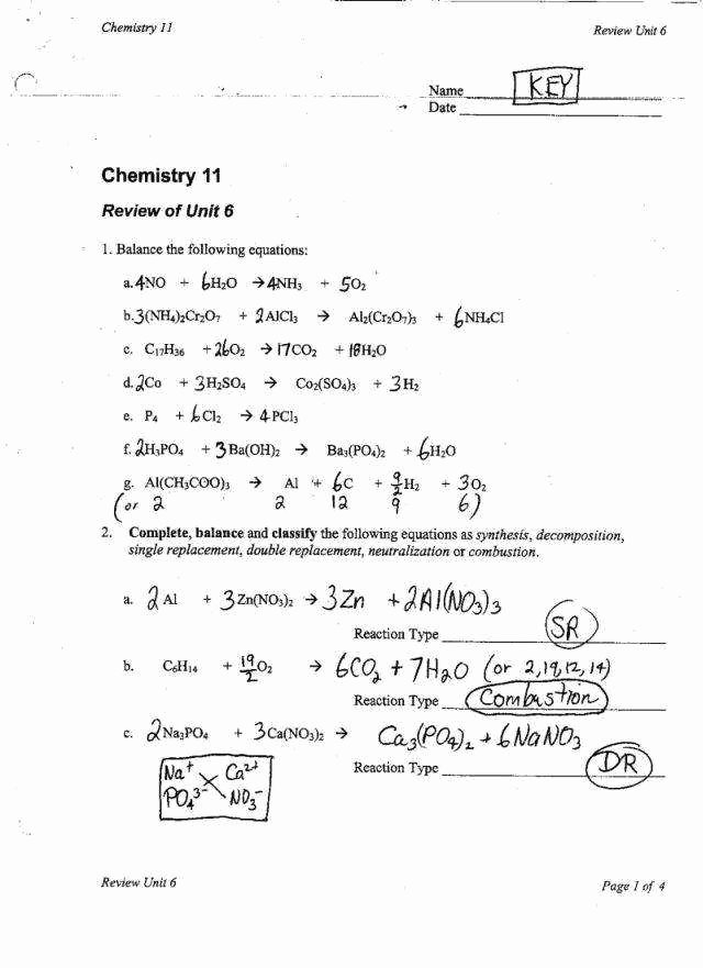 Classifying Chemical Reactions Worksheet Inspirational Classifying Chemical Reactions Worksheet Answers
