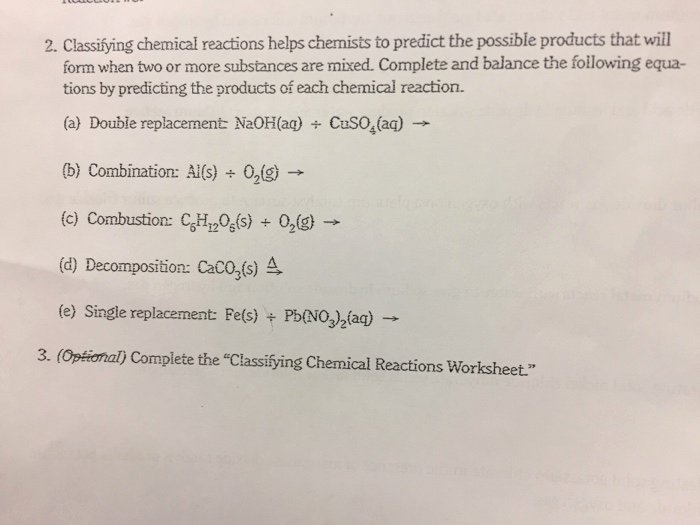 Classifying Chemical Reactions Worksheet Lovely solved 2 Classifying Chemical Reactions Helps Chemists T