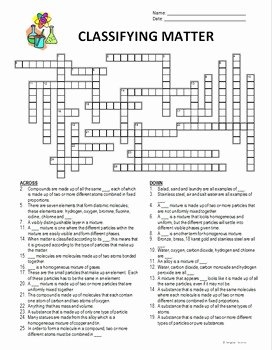 Classifying Matter Worksheet Answer Key Best Of Classifying Matter Crossword Editable by Tangstar