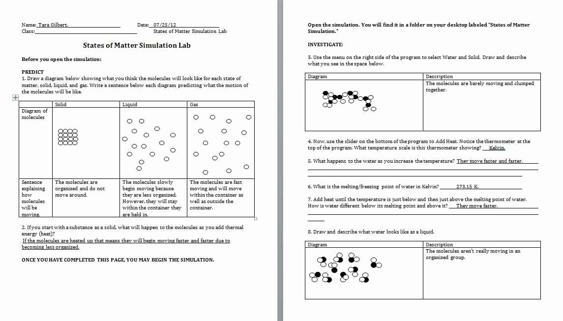 chemistry 1 worksheet classification of matter and changes answer key