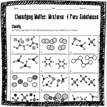 Classifying Matter Worksheet Answers Elegant Classifying Matter Mixtures and Pure Substances Worksheet