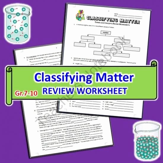 Classifying Matter Worksheet Answers Elegant Classifying Matter Review Worksheet From Tangstar