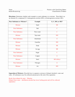 Classifying Matter Worksheet Answers New Studylib Essys Homework Help Flashcards Research
