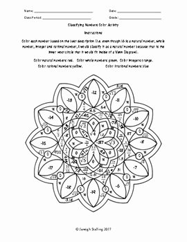 Classifying Rational Numbers Worksheet Awesome Classifying Numbers Coloring Activity by Jstalling
