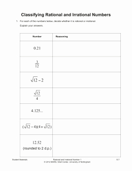 Classifying Rational Numbers Worksheet Inspirational Rational or Irrational Numbers