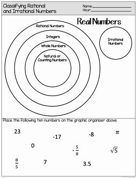 Classifying Rational Numbers Worksheet Unique Rational and Irrational Numbers Define and Classify by