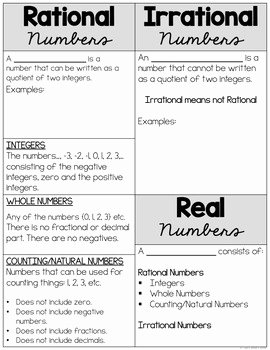 Classifying Real Numbers Worksheet Beautiful Rational and Irrational Numbers Define and Classify by