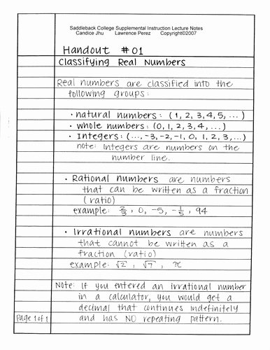 Classifying Real Numbers Worksheet Unique Classifying Numbers Worksheet