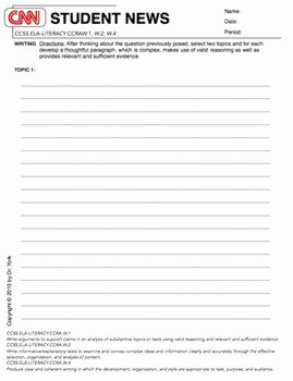 Cnn Student News Worksheet Beautiful Cnn Student News Daily Worksheet by Lessons by Dr York