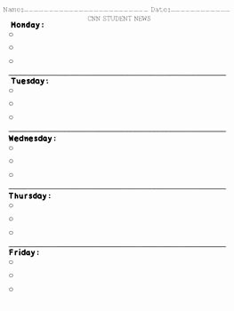 Cnn Student News Worksheet Fresh Cnn Student News Weekly Worksheet