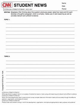 Cnn Student News Worksheet Lovely Cnn Student News Daily Worksheet by Lessons by Dr York