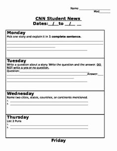 Cnn Student News Worksheet Unique Current events with Cnn News A Graphic organizer for the