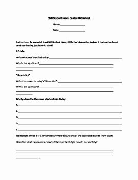 Cnn Students News Worksheet Inspirational Cnn Student News Guided Worksheet by Lindsey Sauls
