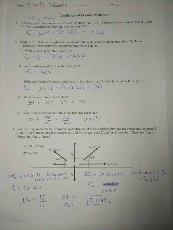 Coefficient Of Friction Worksheet Answers Elegant M4