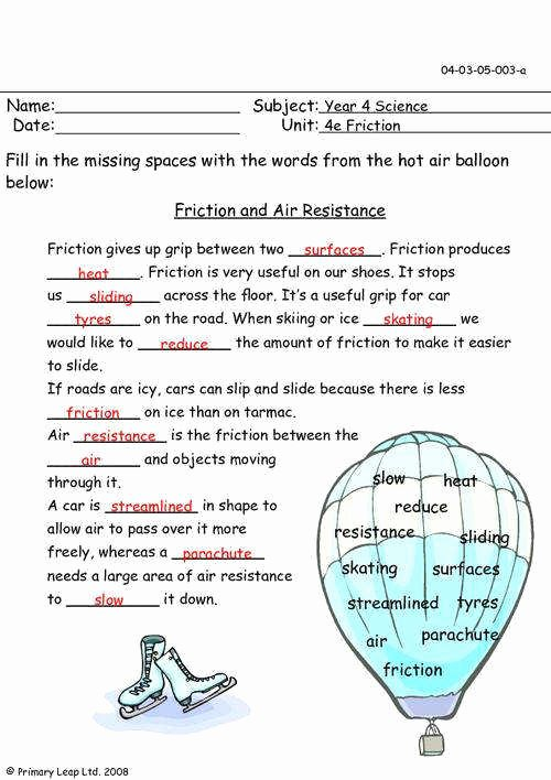 Coefficient Of Friction Worksheet Answers Fresh Friction Worksheet